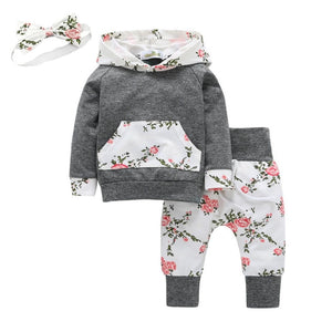 Grey White Pretty Floral Outfit