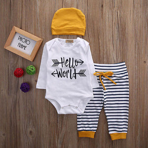 White Striped Hipster Hello World Baby Outift