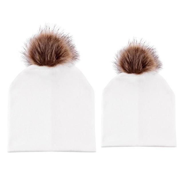 9a5756ff7514f Fur Pom Pom Mom and Baby Matching Winter Hat Set
