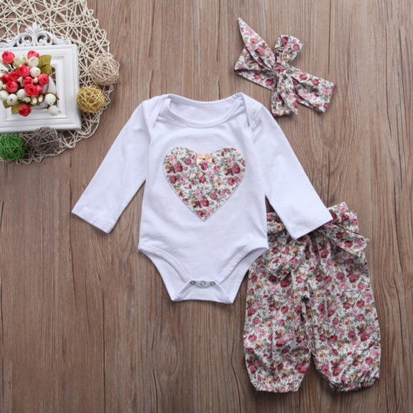 Pink Heart Flower Themed Baby Outfit