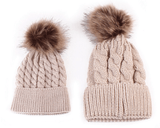 Mom and Baby Matching Knit Fur Pom Pom Winter Hat Set - Diamond Home USA