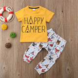 Yellow Forest Friends Happy Camper Baby Outfit