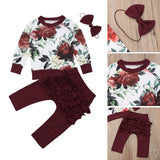 Burgundy Elegant Flower Themed Baby Outfit