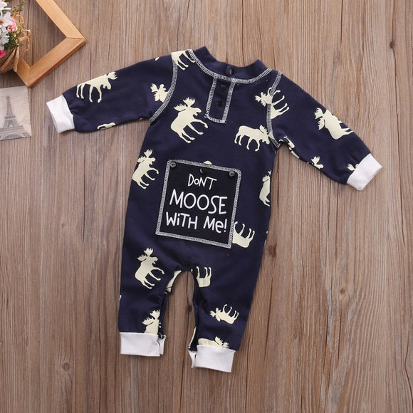 Blue Don't Moose With Me Baby Romper