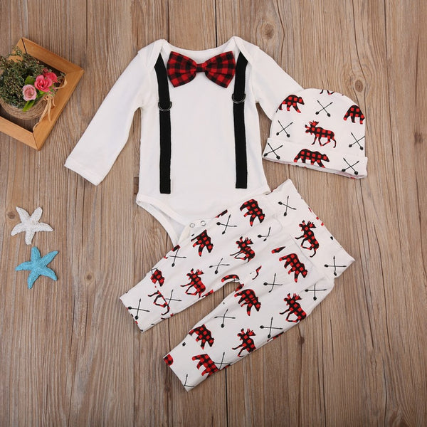 White Red Moose Bear Plaid Baby Outfit