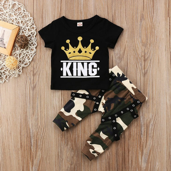 Black Camo King Crown Baby Outfit