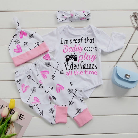 White Pink Video Game Themed Baby Outfit