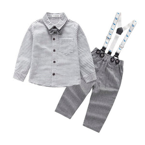 Grey Striped Dress Up Baby Outfit