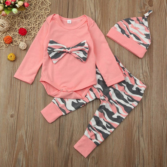 Pink Army Camo Themed Baby Outfit