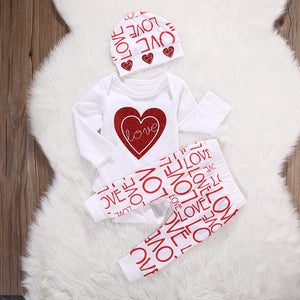 White Red Hearts Love Themed Baby Outfit