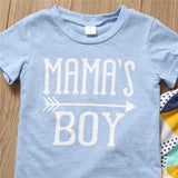 Blue Indie Geometric Mama's Boy Baby Outfit