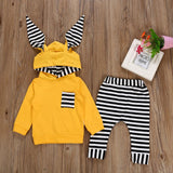 Yellow Striped Hodded Bunny Ears Baby Outfit