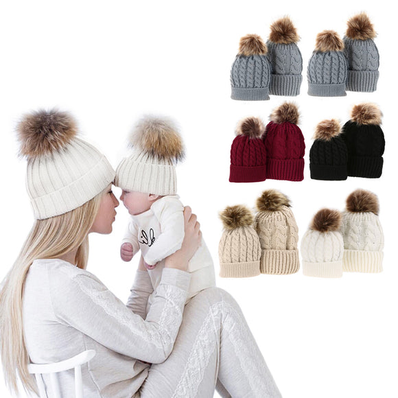 Fur Pom Pom Mom and Baby Matching Winter Hat Set