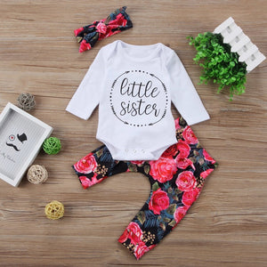 White Pink Flowers Little Sister Baby Outfit