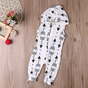 White Black Free Spirit Indie Arrows Baby Jumpsuit