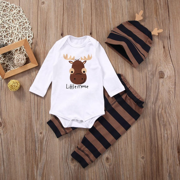 White Brown Moose Baby Outfit