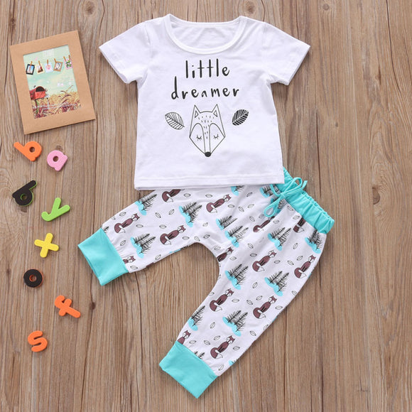 White Teal Fox Little Dreamer Outfit