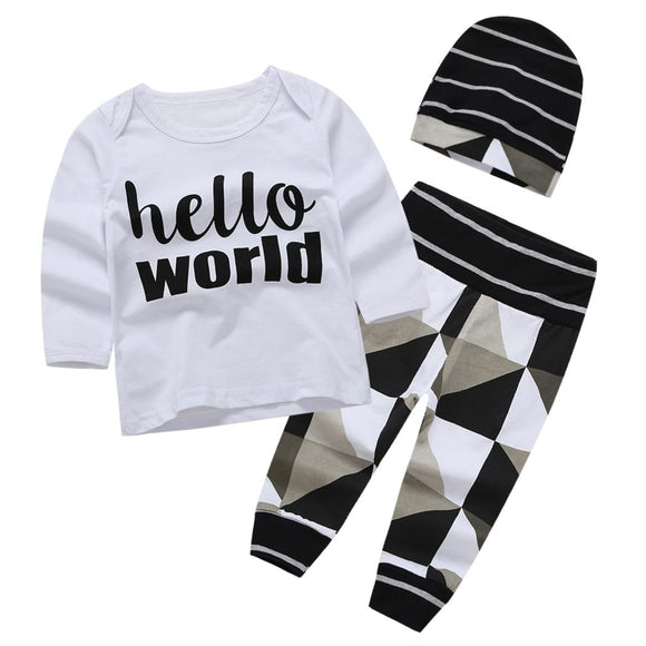 Geometric Pattern Hello World Baby Outfit