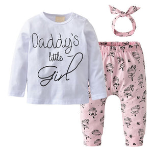 White Pink Daddy's Little Girl Baby Outfit