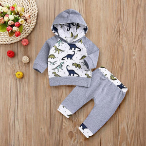 Grey White Dinosaur Themed Baby Outfit