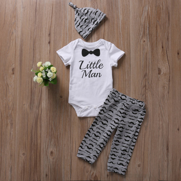 White Grey Little Man Baby Outfit