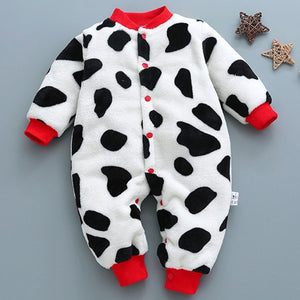 White Black Cow Themed Baby Romper