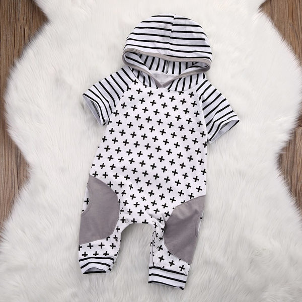 Grey Stripes Boho Themed Baby Outfit
