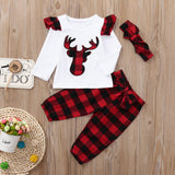 White Red Deer Plaid Themed Baby Outfit