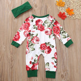 Antique Pink Green Flower Pattern Baby Romper