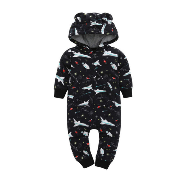 Black Spaceship Baby Romper