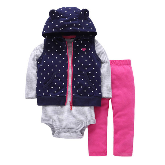 Navy Polka Dot Vest Baby Outfit