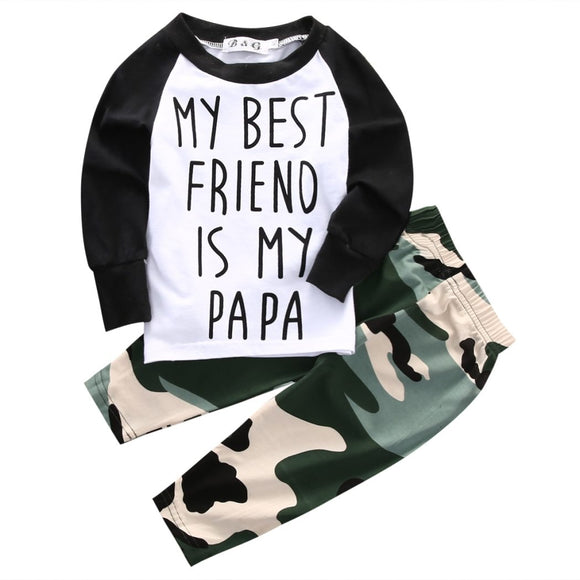 Army My Best Friend Is My Papa Baby Outfit