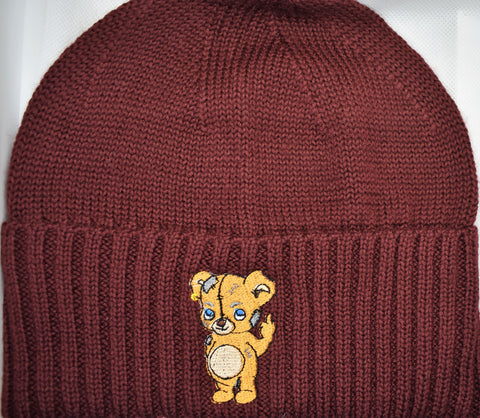 Fxvk It Beanie in Maroon