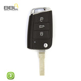KEY SHELLS VOLKSWAGEN SHAPE 3 BUTTON