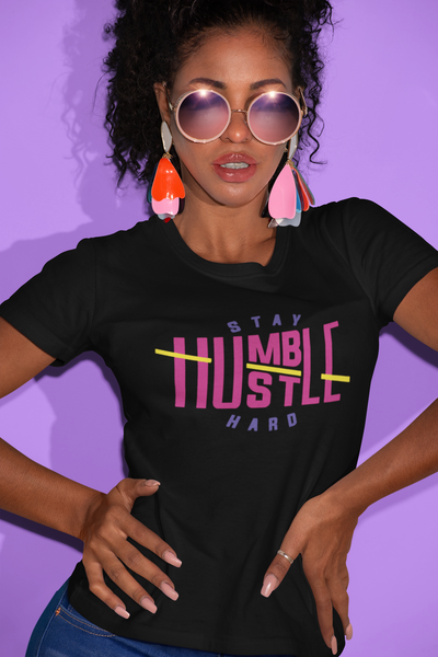 Stay Humble Hustle Hard Purple, Pink and Yellow Logo Women's short sleeve t-shirt