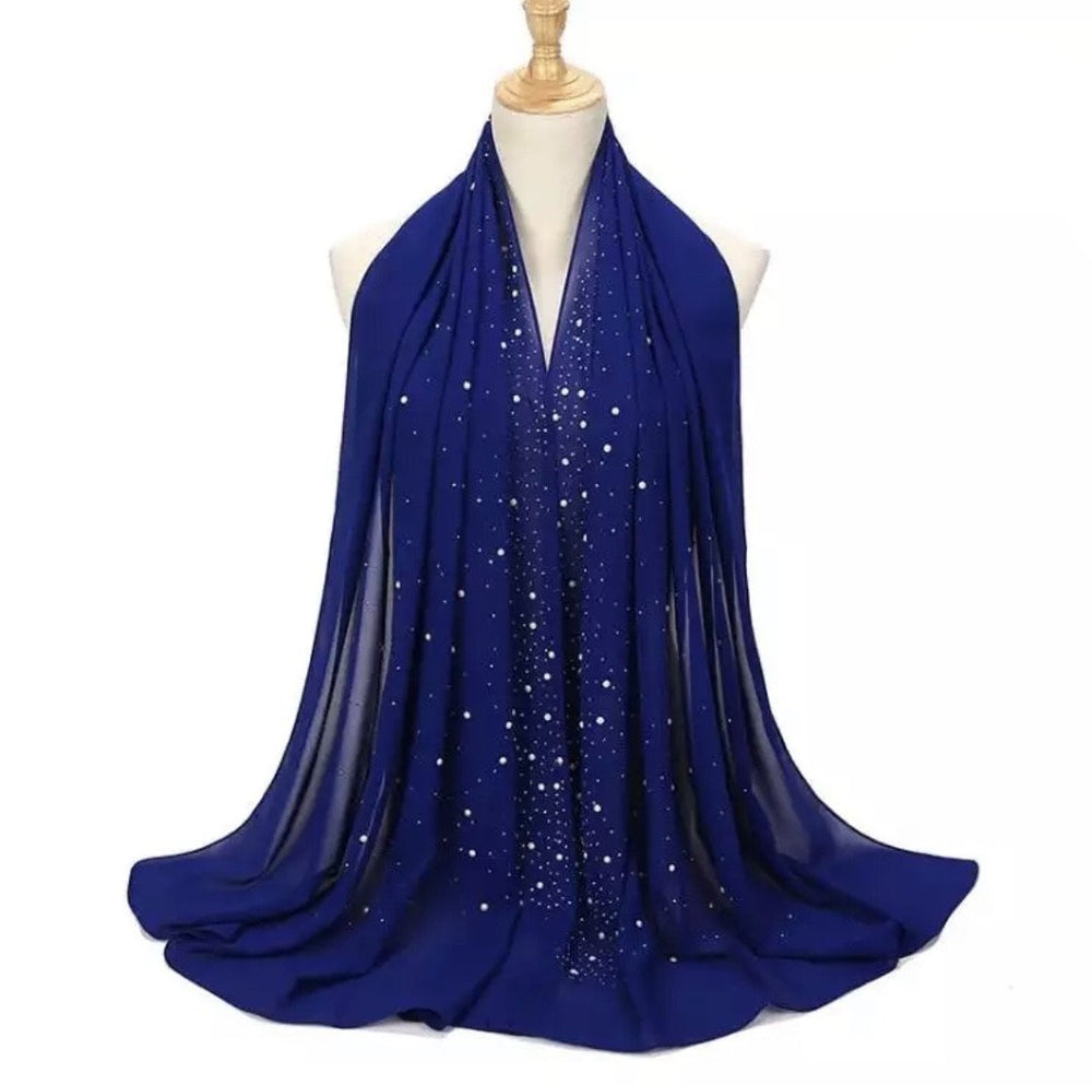 Chiffon Studded- Royal Blue - Modern Abayati Abaya Maxi Dress Hijab Kaftan