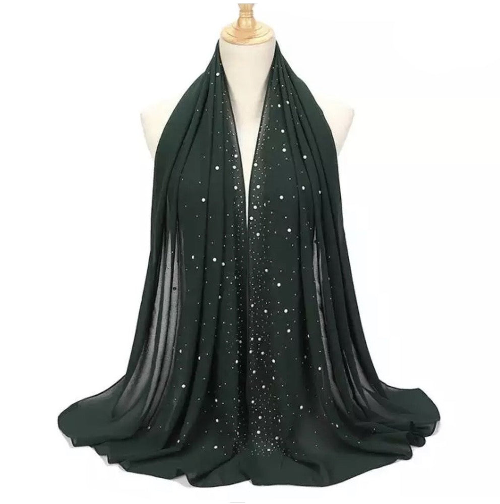 Studded Chiffon- Hunter green - Modern Abayati Abaya Maxi Dress Hijab Kaftan