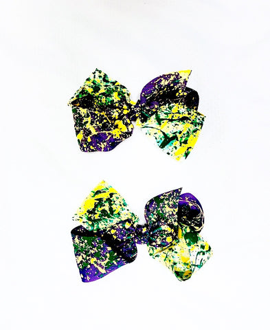 """King Cake"" Hair Bow"