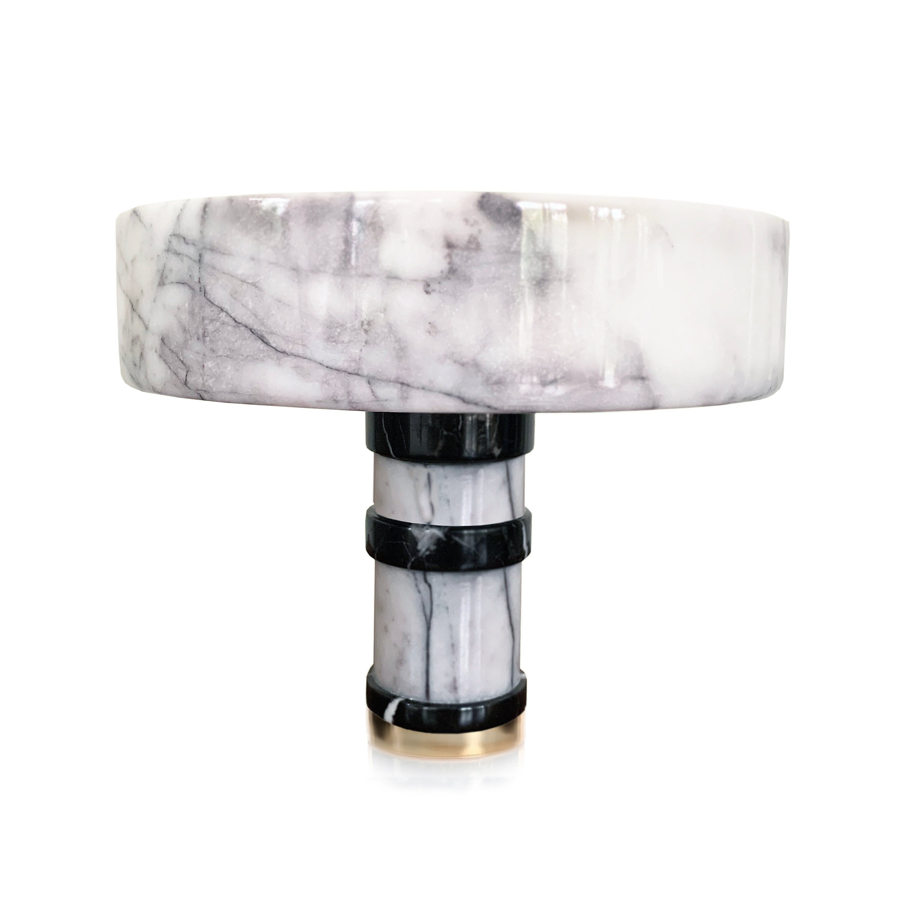 FOOTED BLACK AND WHITE MARBLE SERVING BOWL - KONSTANTIN
