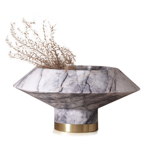 ORBIT WHITE MARBLE SERVING BOWL - KONSTANTIN