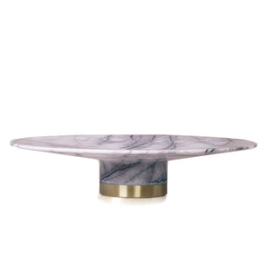 WHITE MARBLE CAKE STAND WITH BRASS FOOT DETAIL - KONSTANTIN