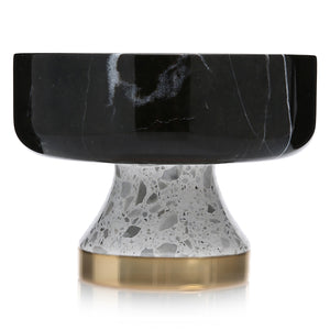 Black Marble Bowl with White Terrazzo Foot