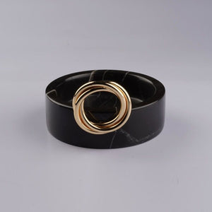 Black Marble Bowl With Brass Ring Detail