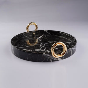 Black Marble Tray With Brass Ring Detail
