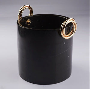 Black Marble Vase With Brass Ring Detail