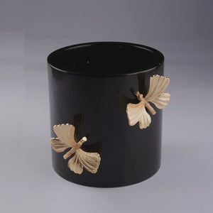 Black Marble Vase with Brass Butterfly Detail