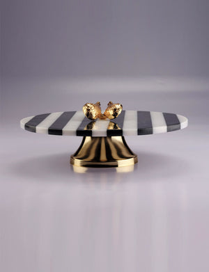Black and White Marble Serving Plate With Brass Wings Detail