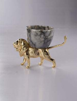 Grey Marble Bowl With Brass Lion Detail