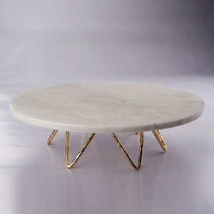 Marble Cake Stand With Angular Brass Foot