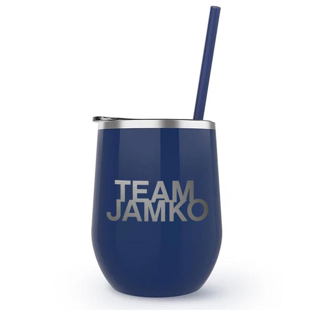 Blue Bloods Team Jamko 12 oz Stainless Steel Wine Tumbler with Straw | Official CBS Entertainment Store